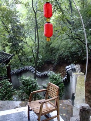 Chinese Tea House in Sichuan Mountains