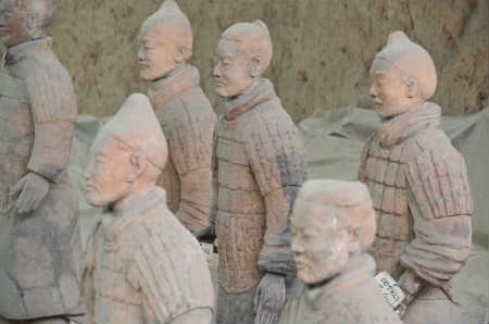 Terra Cotta Warriors stand in formation - Xian, China