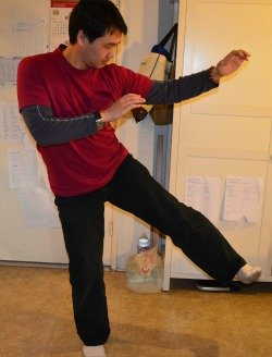 <i>Side Kick Aimed Low - The Knee Joint is a Good Target</i>